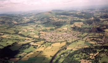 Crickhowell from the air - looking towards Sugar Loaf